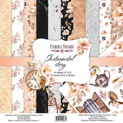 Set of scrapbooking papers - Sentimental story - Fabrika Decoru - FDSP01067
