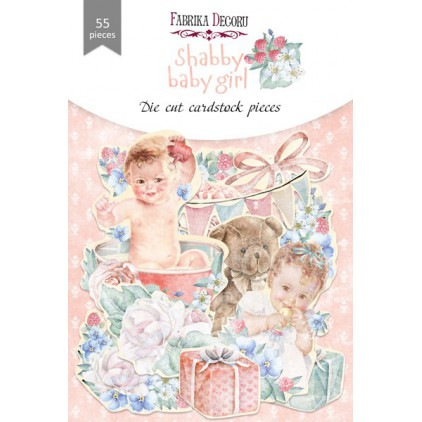 Wycinanki z papieru 55 części - Shabby baby girl - Fabrika Decoru FDSDC-04076
