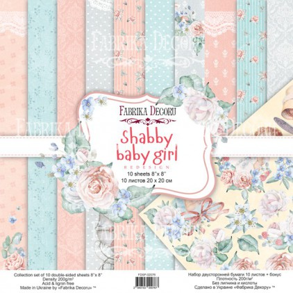 Set of scrapbooking papers - Fabrika Decoru 20 x 20cm - Shaby baby girl redesign FDSP-02076