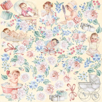 "Elements to cut out 12x12"" - Shabby baby girl redesign - Fabrika Decoru"