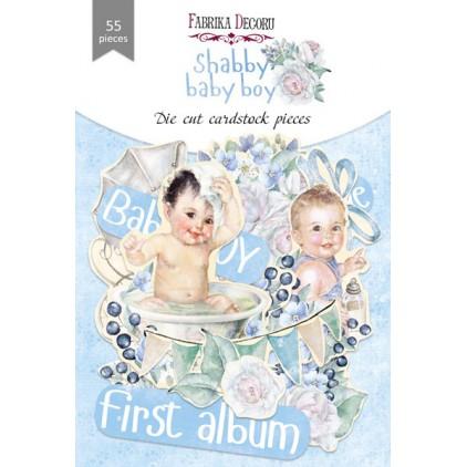 Wycinanki z papieru 55 części - Shabby baby boy - Fabrika Decoru FDSDC-04075