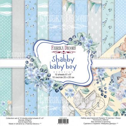 Zestaw papierów do tworzenia kartek i scrapbookingu 20 x 20cm - Fabrika Decoru - Shaby baby boy redesign FDSP-02075