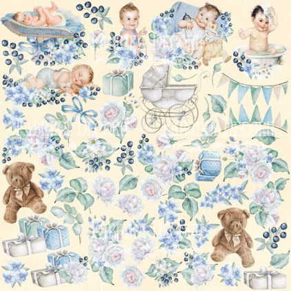 """Elements to cut out 12x12"""" - Shabby baby boy redesign - Fabrika Decoru"""
