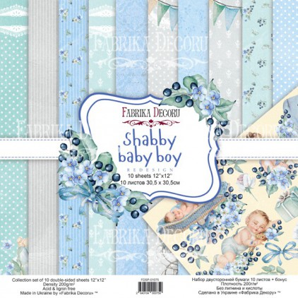 Set of scrapbooking papers - Shabby baby boy redesign - Fabrika Decoru - FDSP01075