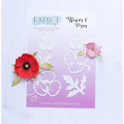 Wykrojniki do papieru - maki - Lady E Design - Flower 6 Poppy