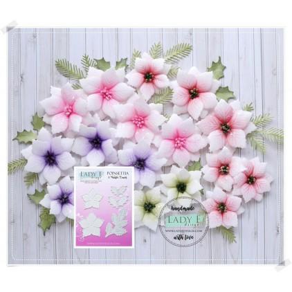 Wykrojniki do papieru - poinsecja i zimowe liście - Lady E Design - Poinsettia and winter leawes