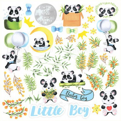 "Elements to cut out 12x12"" - my little Panda boy - Fabrika Decoru"