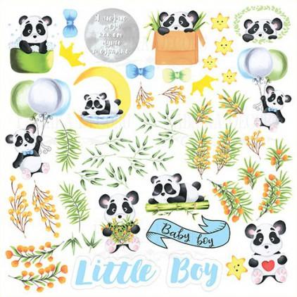 Papierowe dodatki, elementy do wycięcia - Fabrika Decoru - my little Panda boy - Obrazki do wycinania