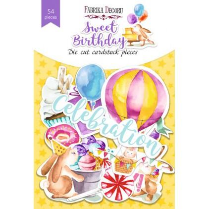 Wycinanki z papieru 54 części - Sweet birthday - Fabrika Decoru FDSDC-04073