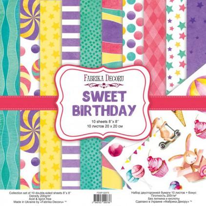 Zestaw papierów do tworzenia kartek i scrapbookingu 20 x 20cm - Fabrika Decoru - Sweet birthday FDSP-02073