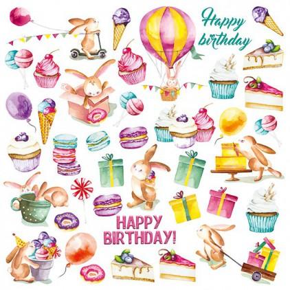 Papierowe dodatki, elementy do wycięcia - Fabrika Decoru - Sweet birthday - Obrazki do wycinania