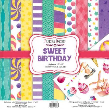 Zestaw papierów do tworzenia kartek i scrapbookingu - Fabrika Decoru - Sweet birthday - FDSP-01073