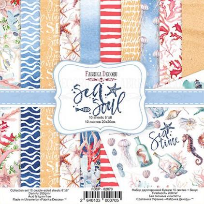 Zestaw papierów do tworzenia kartek i scrapbookingu 20 x 20cm - Fabrika Decoru - Sea soul FDSP-02070