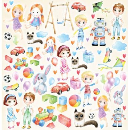 Joyful Kids - Papier do scrapbookingu 30x30 cm - dziecięce elementy- ScrapAndMe