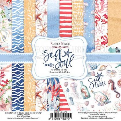 Zestaw papierów do tworzenia kartek i scrapbookingu - Fabrika Decoru - Sea Soul - FDSP-01070