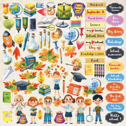 "Back to school - elements to cut out 12x12"" - Fabrika Decoru"