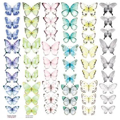 Butterflies 3 obrazki do wycinania, papier do scrapbookingu 30x30cm - Fabrika Decoru