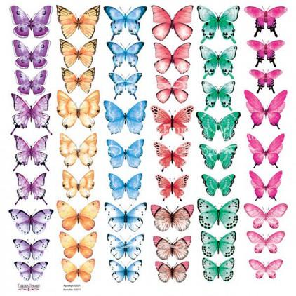 Butterflies 4 obrazki do wycinania, papier do scrapbookingu 30x30cm - Fabrika Decoru
