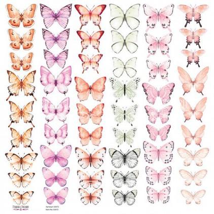 Butterflies 5 obrazki do wycinania, papier do scrapbookingu 30x30cm - Fabrika Decoru