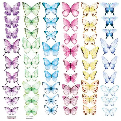 "Butterflies 6 elements to cut out, scrapbooking paper 12x12"" - Fabrika Decoru"