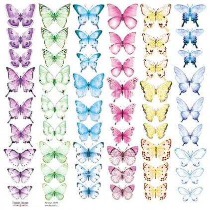 Butterflies 6 obrazki do wycinania, papier do scrapbookingu 30x30cm - Fabrika Decoru