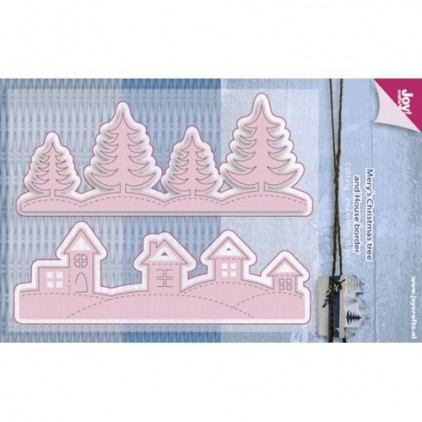 zimowy widok - wykrojniki do papieru - Joy Crafts Mery's Christmas tree and House border 6002/0587