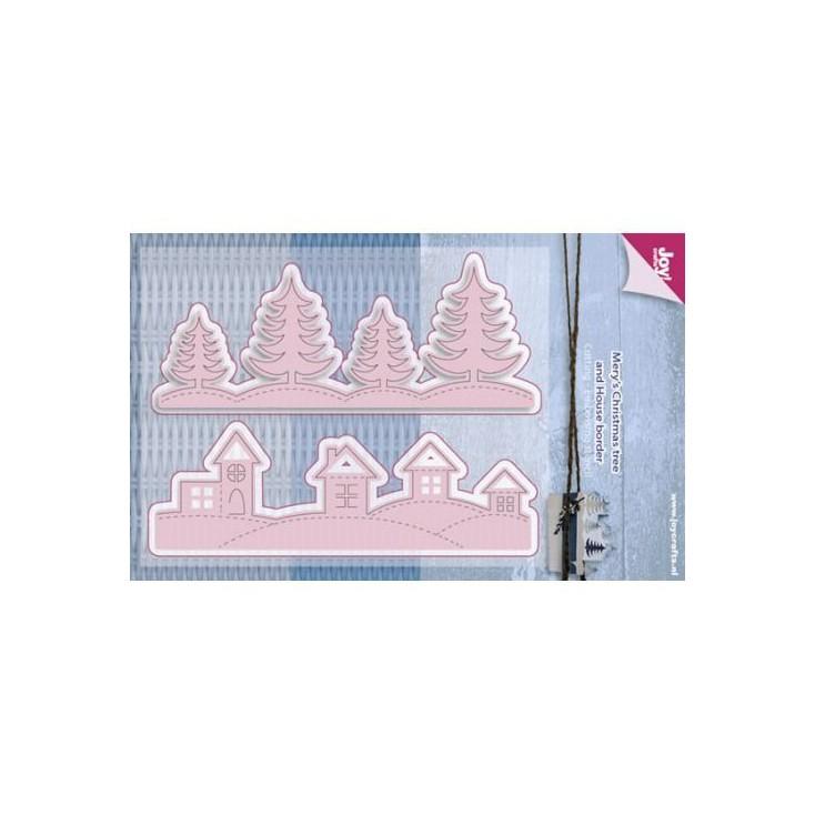 zimowy widok - wykrojniki do papieru - Joy Crafts Mery's Christmas tree and House border 6002/0587