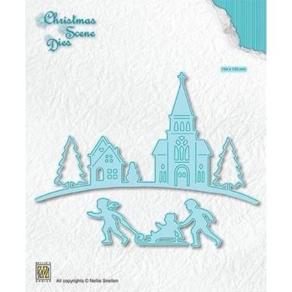 """zimowa scenka - wykrojniki do papieru - Nellie's Choice Christmas scene Dies """"Wintertime"""" CRSD004"""