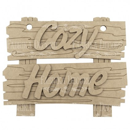signboard with the words cozy home - decoration base - factory decor fdpo-121