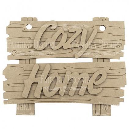 szyld z napisem cozy home - baza do zdobienia - fabrika decoru fdpo-121
