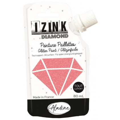 glitter paint - aladine izink diamond corail - 80ml - coral