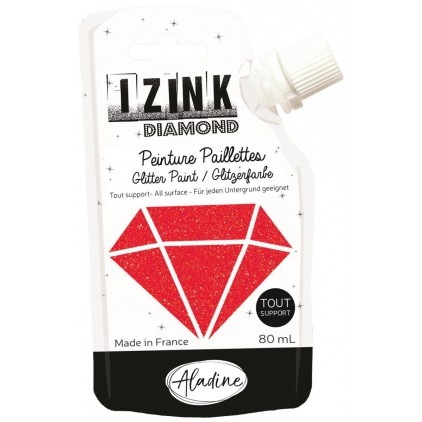 glitter paint - aladine izink diamond rouge - 80ml - red
