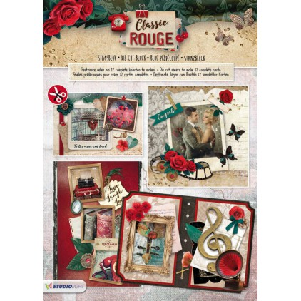 Blok papierów do tworzenia kartek i scrapbookingu - Studio Light - Classic Rouge - Die Cut Block - STANBLOKSL78