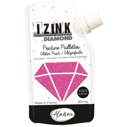 glitter paint - aladine izink diamond rose peche - 80ml - rose