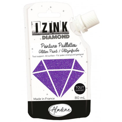 glitter paint - aladine izink diamond violet - 80ml - purple