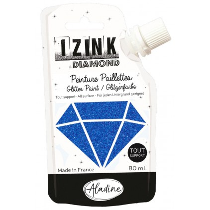 glitter paint - aladine izink diamond bleu marine - 80ml - navy blue