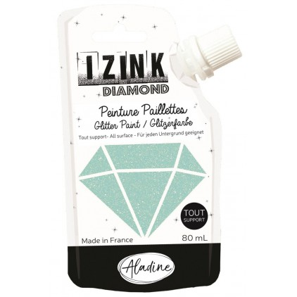 glitter paint - aladine izink diamond vert pastel - 80ml - mint