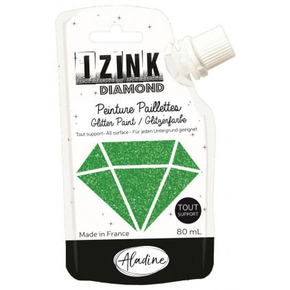 glitter paint - aladine izink diamond vert fonce - 80ml - green