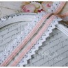 Cotton lace with velvet - widh 2,5cm - 1 meter - white with pink velvet