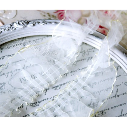 Pleaded, synthetic lace - widh 3,5cm - vanilla - 1 meter