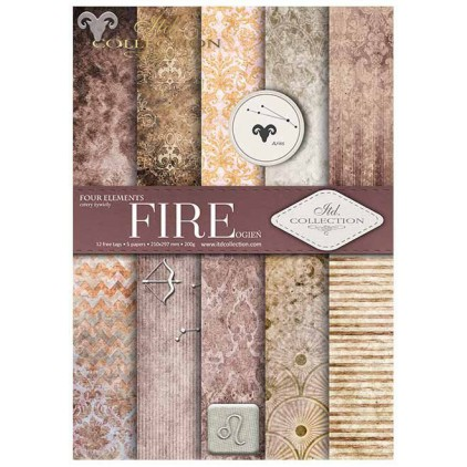 Papiery do scrapbookingu, zestaw A4 - Fire - ITD Collection SCRAP030