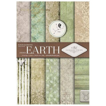Set of scrapbooking papers, A4 size - Earth - ITD Collection SCRAP029