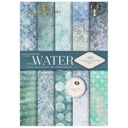 Papiery do scrapbookingu, zestaw A4 - Water - ITD Collection SCRAP028