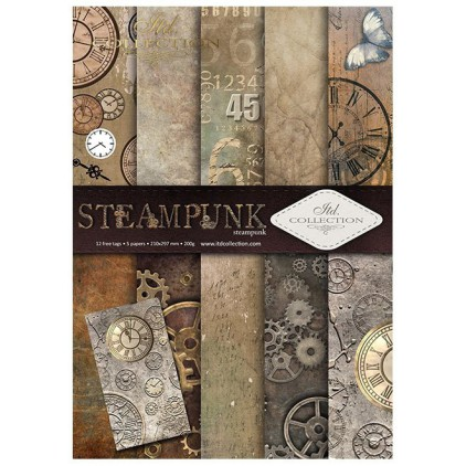 Papiery do scrapbookingu, zestaw A4 - Steampunk - ITD Collection SCRAP043