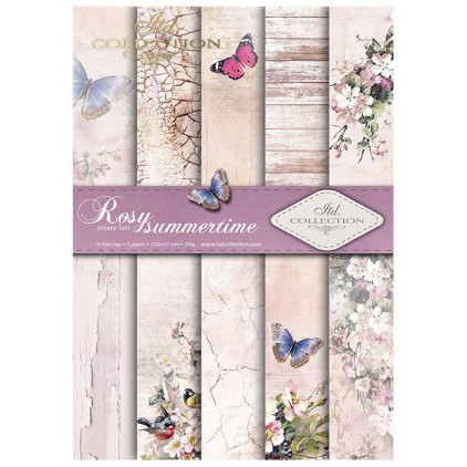 set of scrapbooking papers, A4 size - rosy sumertime - ITD collection SCRAP045