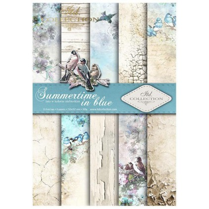 set of scrapbooking papers, A4 size - sumertime in blue - ITD collection SCRAP046