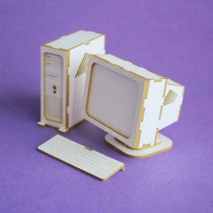 cardboard element desktop computer 3D- Crafty Moly 1293