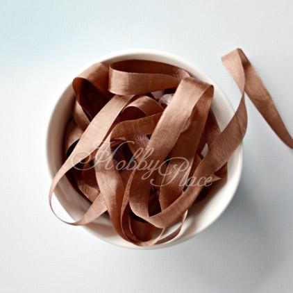 wstążka vintage - wstążki gnieciuchy - 1 metr - amber brown