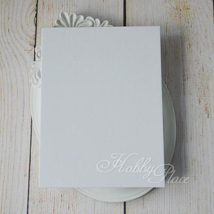 Baza albumowa harmonijkowa okładka biały papier, karty białe - 11,5 x 16,5 - Eco-scrapbooking