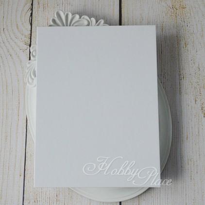 Baza albumowa harmonijkowa okładka biały papier, karty białe - 14,5 x 19,5 - Eco-scrapbooking